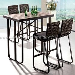 Bàn ghế cafe mây nhựa PRBS-010