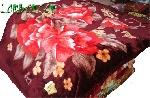 Chăn lông 2 hoa đỏ nền mận chín 155 x 210