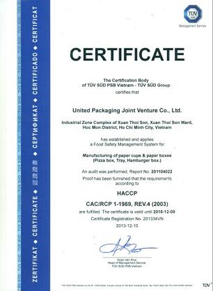 Chứng chỉ HACCP CERTIFICATE