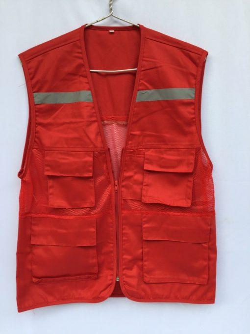 Áo bảo hộ Gile túi hộp màu đỏ
