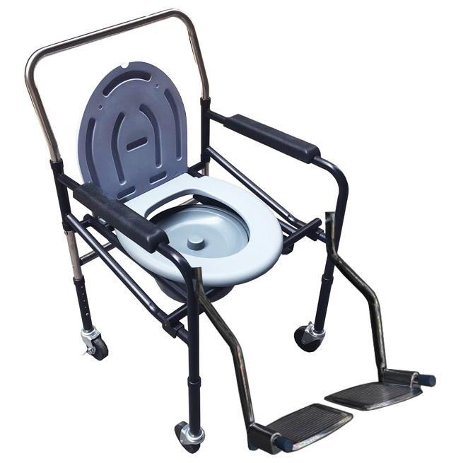 Ghế bô vệ sinh có bánh xe, có để chân