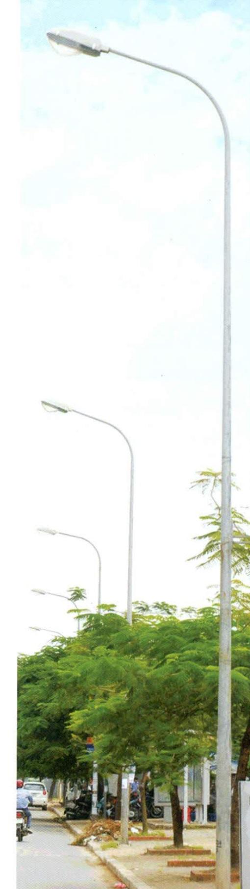 Trụ đèn côn liền cần