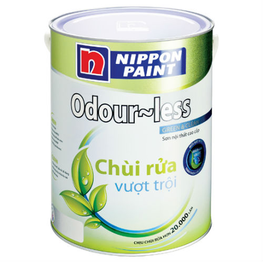 Sơn phủ nội thất Nippon Odourless chùi rửa vượt trội bóng mờ màu chuẩn 5L