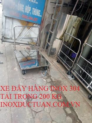 XE ĐẨY HÀNG INOX 304 TẢI TRỌNG 200 KG