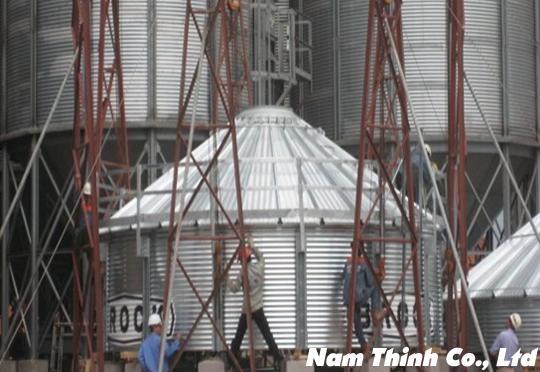 Thi công hệ thống Silo tháp sấy 500M3