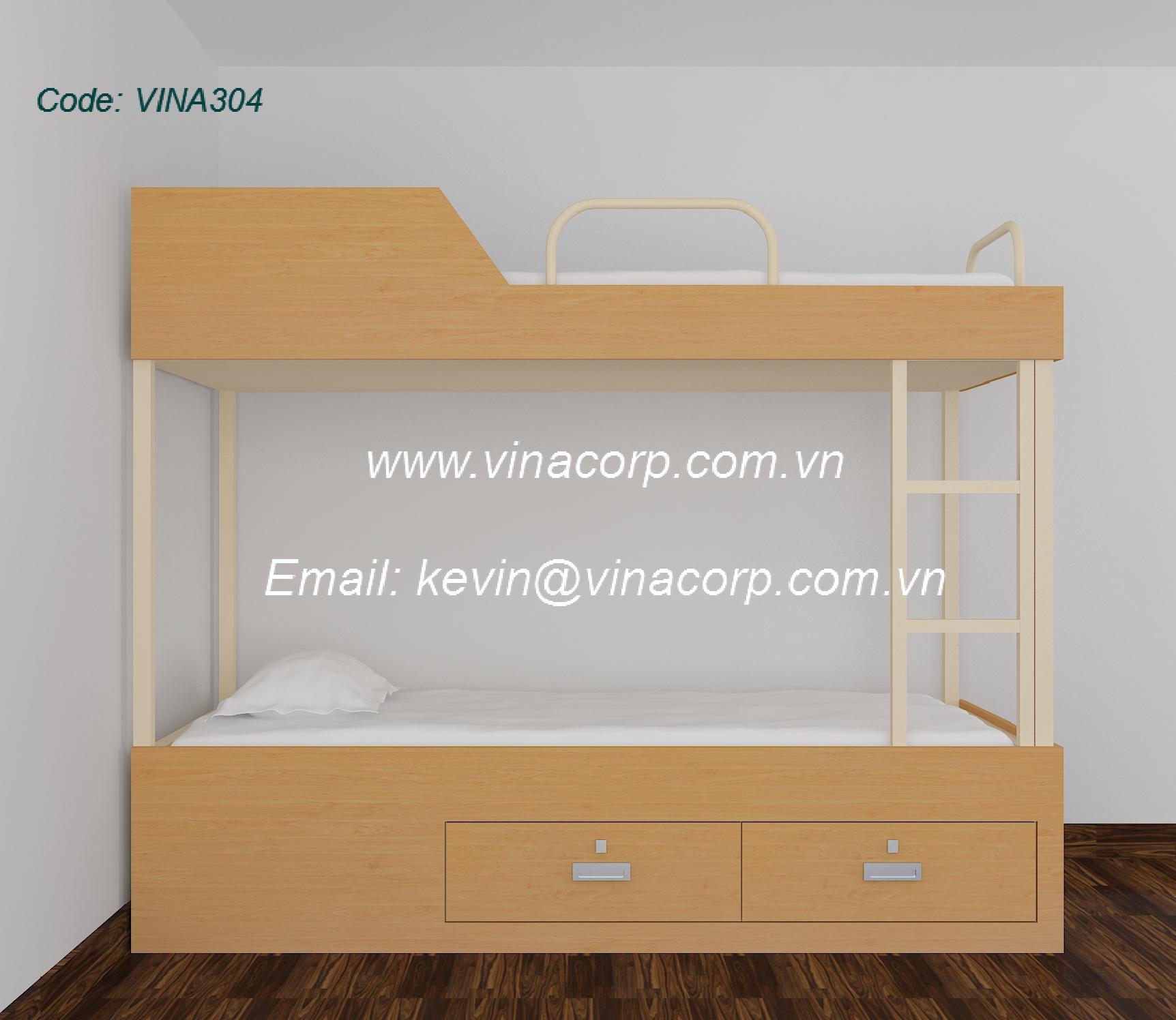 Giường 2 tầng ốp gỗ (loại C)
