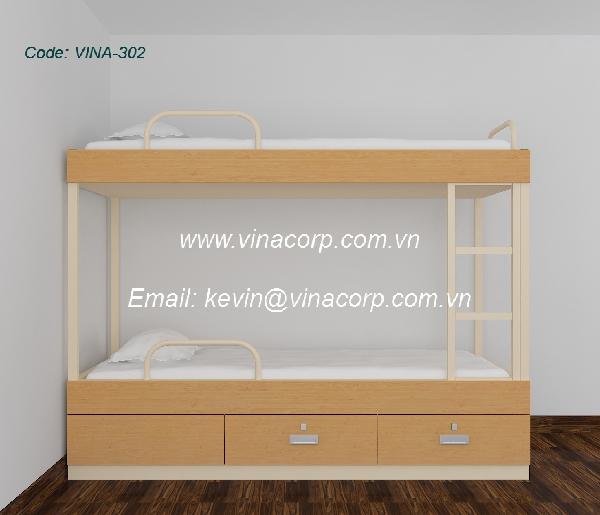 Giường 2 tầng ốp gỗ loại A