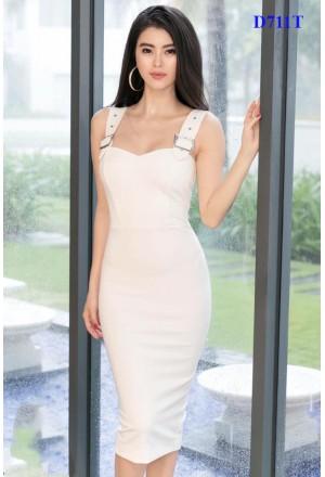 Đầm Body 2 Dây Có Khoen Dây Kéo Đồng