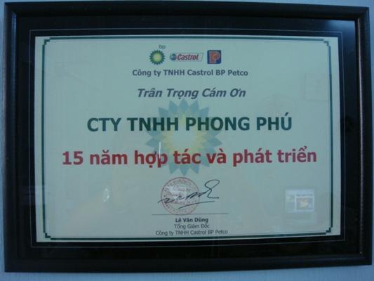 Chứng Nhận Của Castrol BP Việt Nam