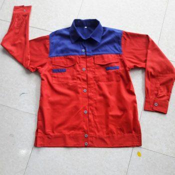 Áo QA15 màu đỏ phối xanh