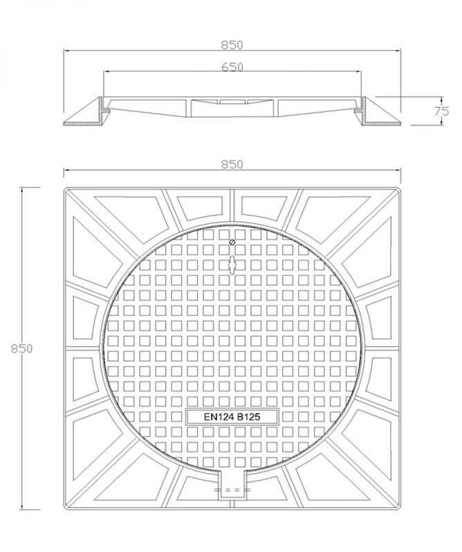 Nắp hố ga thân vuông khung âm