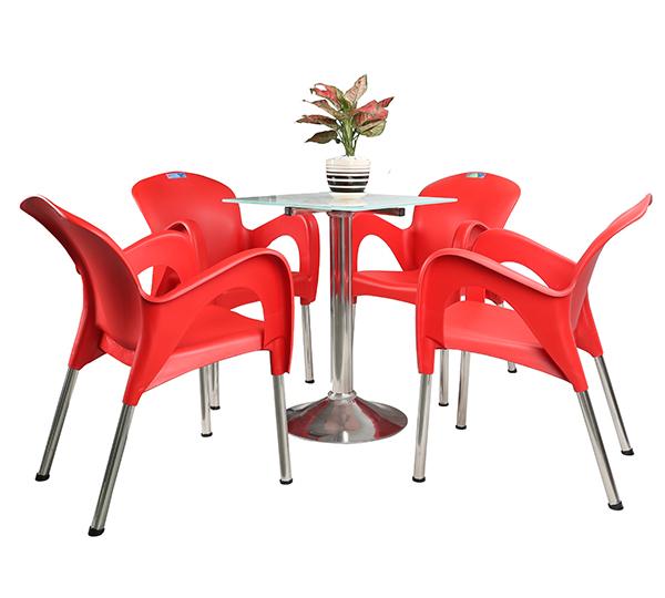 Bộ bàn 6T vuông chân mâm inox & ghế nữ hoàng