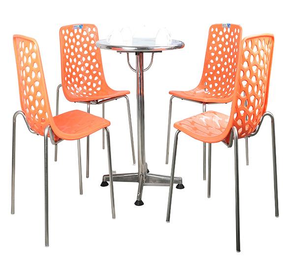 Bộ bàn 6T tròn chân 1 trụ inox & ghế Diva