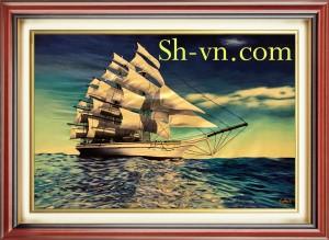 Tranh thêu tay Thuận buồm xuôi gió