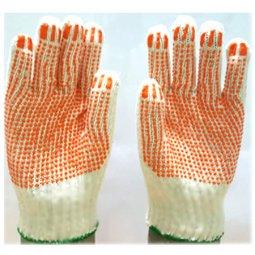 Găng tay len hạt nhựa cam PVC