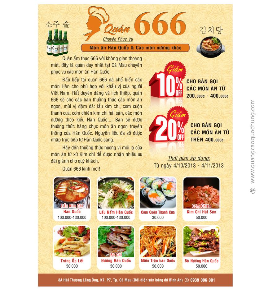 Tờ Rơi Lẩu Kim Chi 666