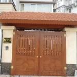 Cửa cổng sắt giả gỗ