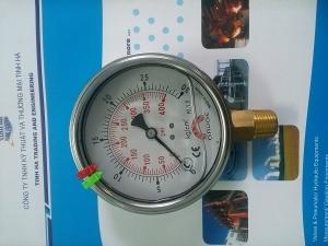 Đồng hồ áp suất thân inox chân đồng