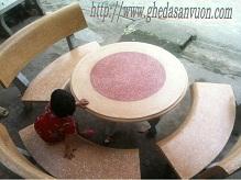 Ghế đá granito bàn tròn