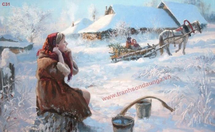 Thiếu nữ lấy nước