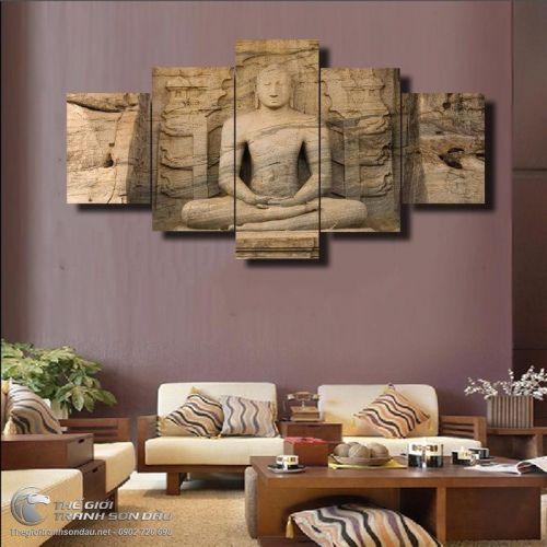 Tranh Bộ 5 Bức Tượng Phật Trong Vách Núi
