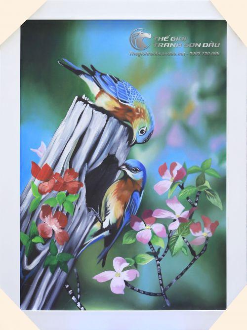 Tranh Sơn Dầu Vẽ Đôi Chim