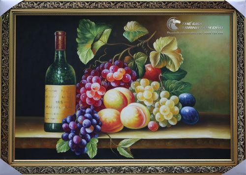 Tranh Sơn Dầu Tĩnh Vật Trái Cây và Chai Rượu