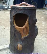 Thùng rác xi măng giả gốc cây